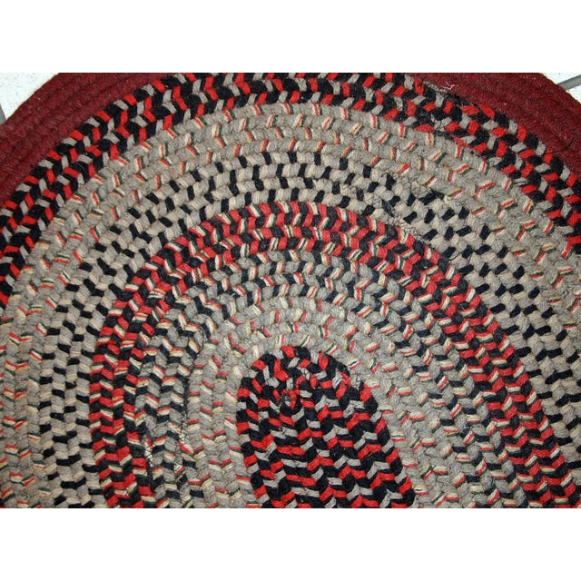 American 1930s Antique American Handmade Braided Oval Rug - 2′2″ × 3′9″ For Sale - Image 3 of 10