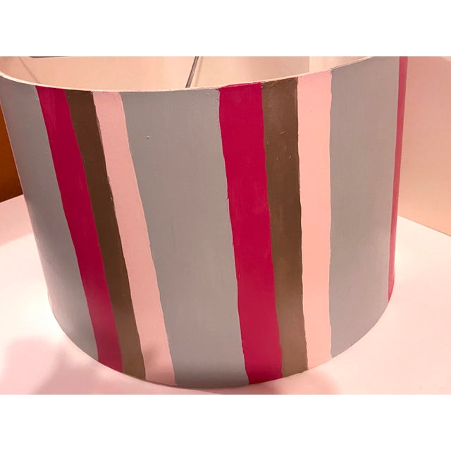 Hand Painted Custom Modern Lampshade For Sale - Image 9 of 12