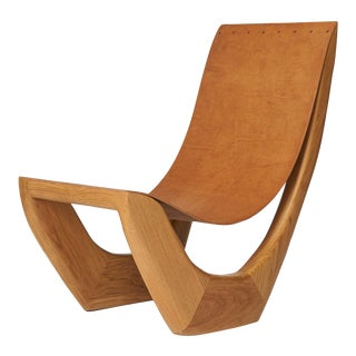 Leather Strap Oak Side Chair by Kaspar Hamacher For Sale