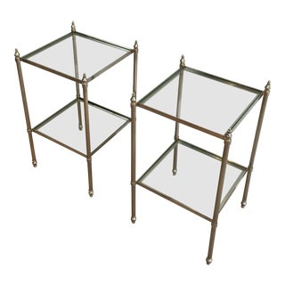 Pair of French Neoclassical Silvered Brass Side Tables
