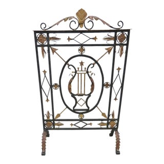Directoire Iron Black & Gold Firescreen For Sale