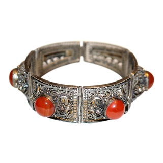 1940s Chinese Silver-Plated Filigree Carnelian Cabochon Bracelet For Sale