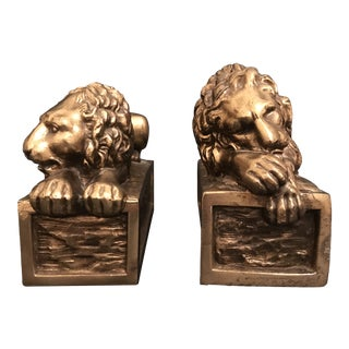Vintage Mid Century Brass Finish Figural Complementing Lion Sculpture Bookends - a Pair For Sale