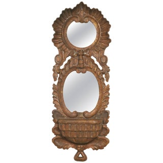 1960s, Spanish Carved Wood Double Mirror For Sale