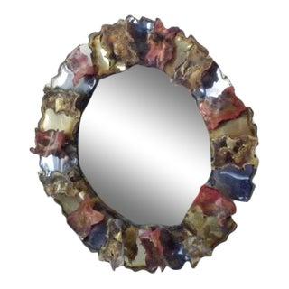 Vintage Mid-Century Brutalist Modern Wall Mirror by Bijan For Sale