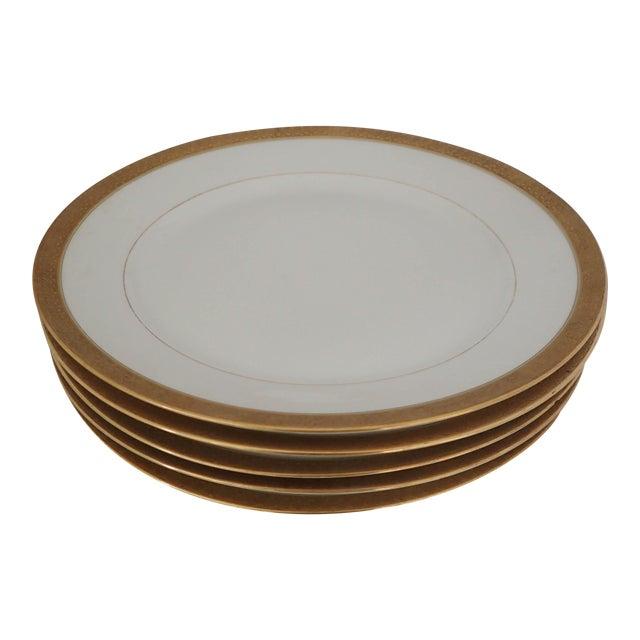 Elegant Gold Rim Dinner Plates S/5 - Image 1 of 7