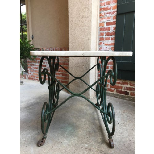 19th Century French Marble Pastry Baker's Table Art Nouveau Green Pâtisserie For Sale In Dallas - Image 6 of 13