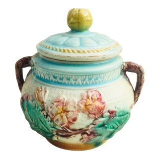1800s Antique Majolica Lidded Jar With Floral Motifs and Faux Bois Handles For Sale