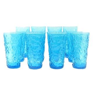 Mid-Century Blue Art Glass Barware, Set of 12 For Sale