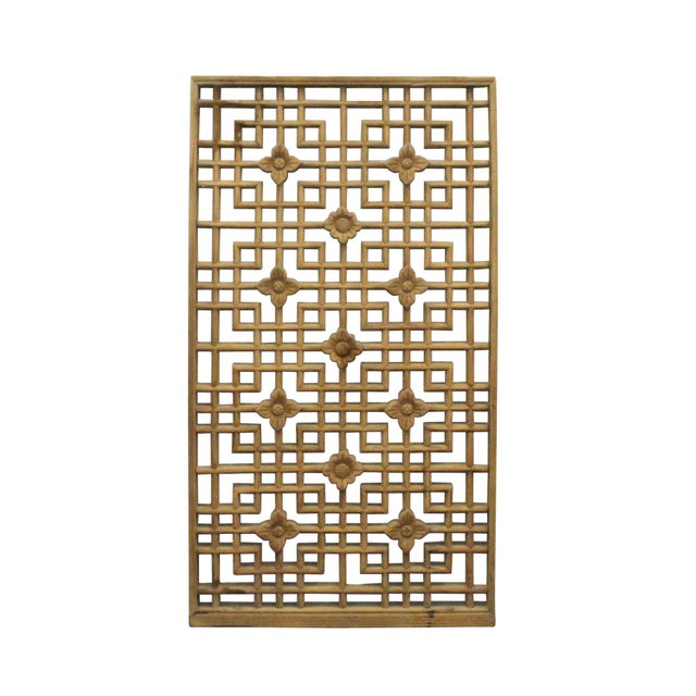 Wood Chinese Handmade Vintage Rustic Flower Star Geometric Wood Panel For Sale - Image 7 of 7