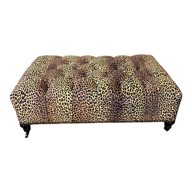 Superb Clarence House Designer Cheetah Leopard Tufted Ottoman For Sale