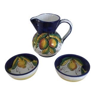 Deruta Italy Fruit Pitcher & Bowls - Set of 3