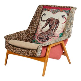 Scandinavian 1960s Dux Lounge Chair Covered in Jungle Love Fabric by Hermès For Sale
