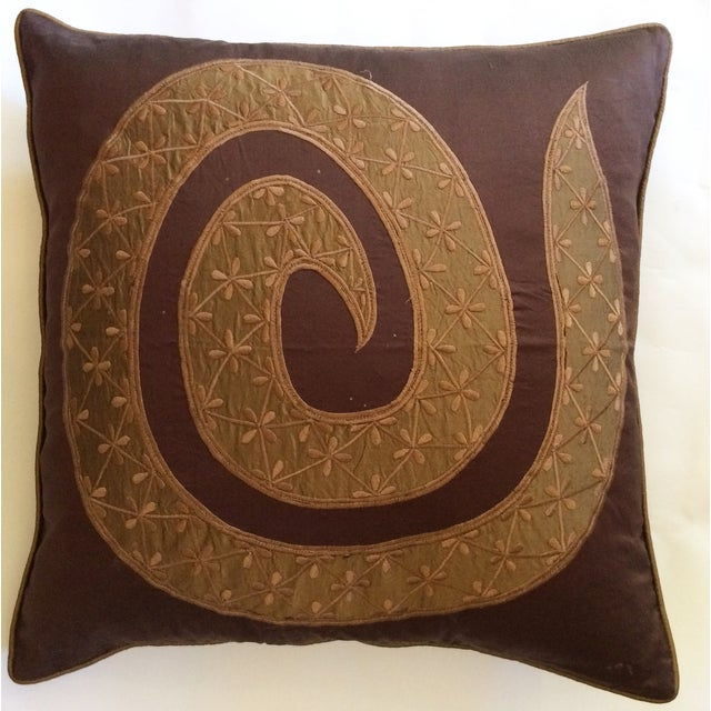 Chocolate & Gold Silk Pillow Cover - Image 2 of 3
