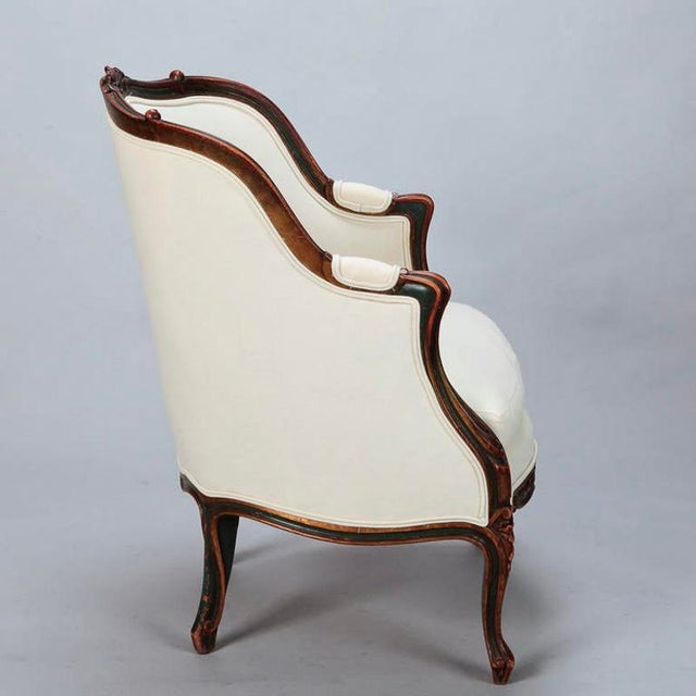 French 20th Century Finely Carved French Louis XV Style Bergere Armchair For Sale - Image 3 of 10