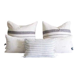 Handwoven Blue & White Pillow Covers - Set of 4 For Sale