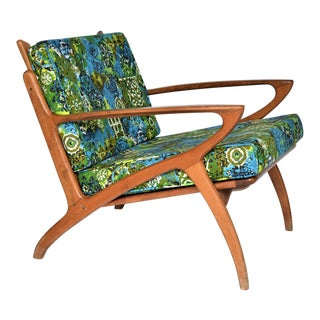 Mid Century Danish Modern Solid Teak Selig Style Lounge Chair --MCM Denmark Retro Boho Chic