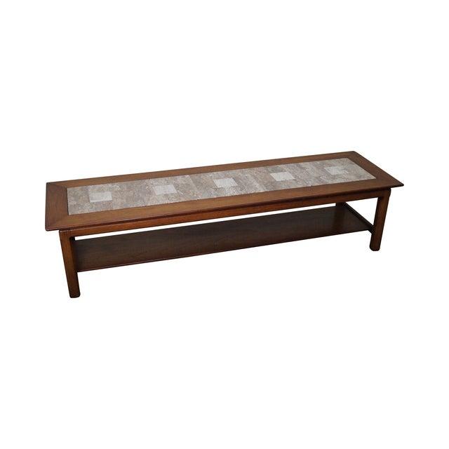 Mid Century Modern Long Walnut Coffee Table - Image 1 of 10
