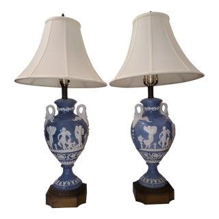 1970s Vintage Blue Lamps - a Pair For Sale