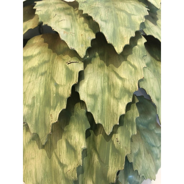 Leaf Motif Green Tole Wall Sconces- a Pair For Sale - Image 4 of 9