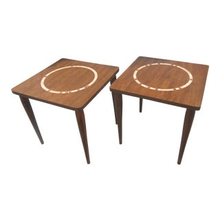 1960s Mid Century Modern Nesting Tile Mosaic Side Tables - a Pair