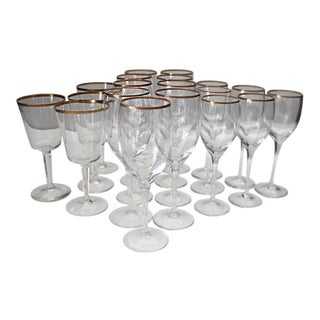 1980s Traditional Lenox Gold Rim Crystal Water and Wine Glasses - Set of 19 For Sale