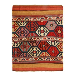 Antique Shahsavan Red and Blue Wool Rug For Sale
