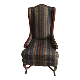 Vintage Mahogany Rosewood Style High Back Accent Chair For Sale