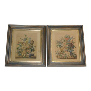 Pair of Antique French Hand Colored Floral Etchings For Sale