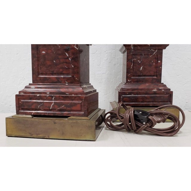 Vintage Classical Roman Bronze Urns & Marble Table Lamps - a Pair For Sale - Image 10 of 11