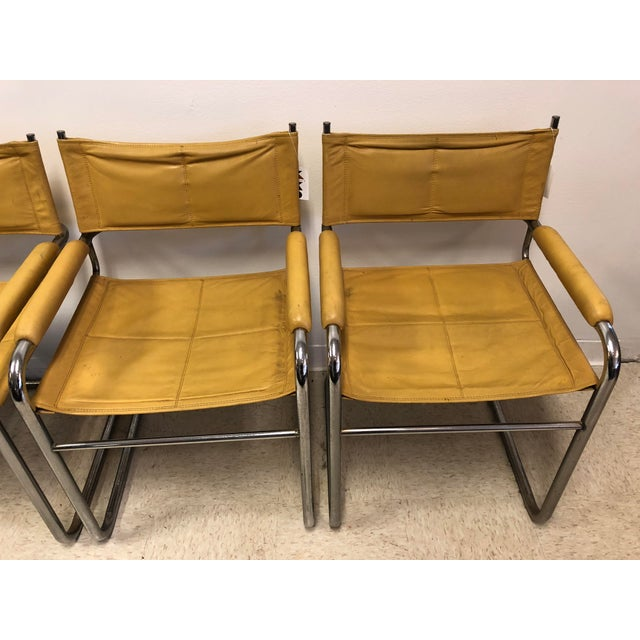 Bauhaus Mustard Leather Arm Chairs - Set of 4 - Image 3 of 7
