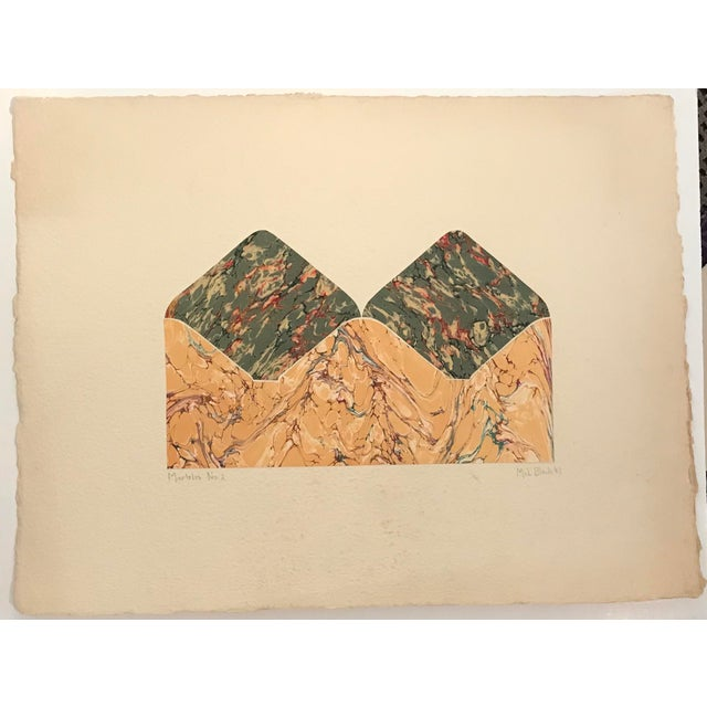 From a group of works from 1987 by Mel Black (20th century). These are marbleized paper with watercolor collaged on heavy...