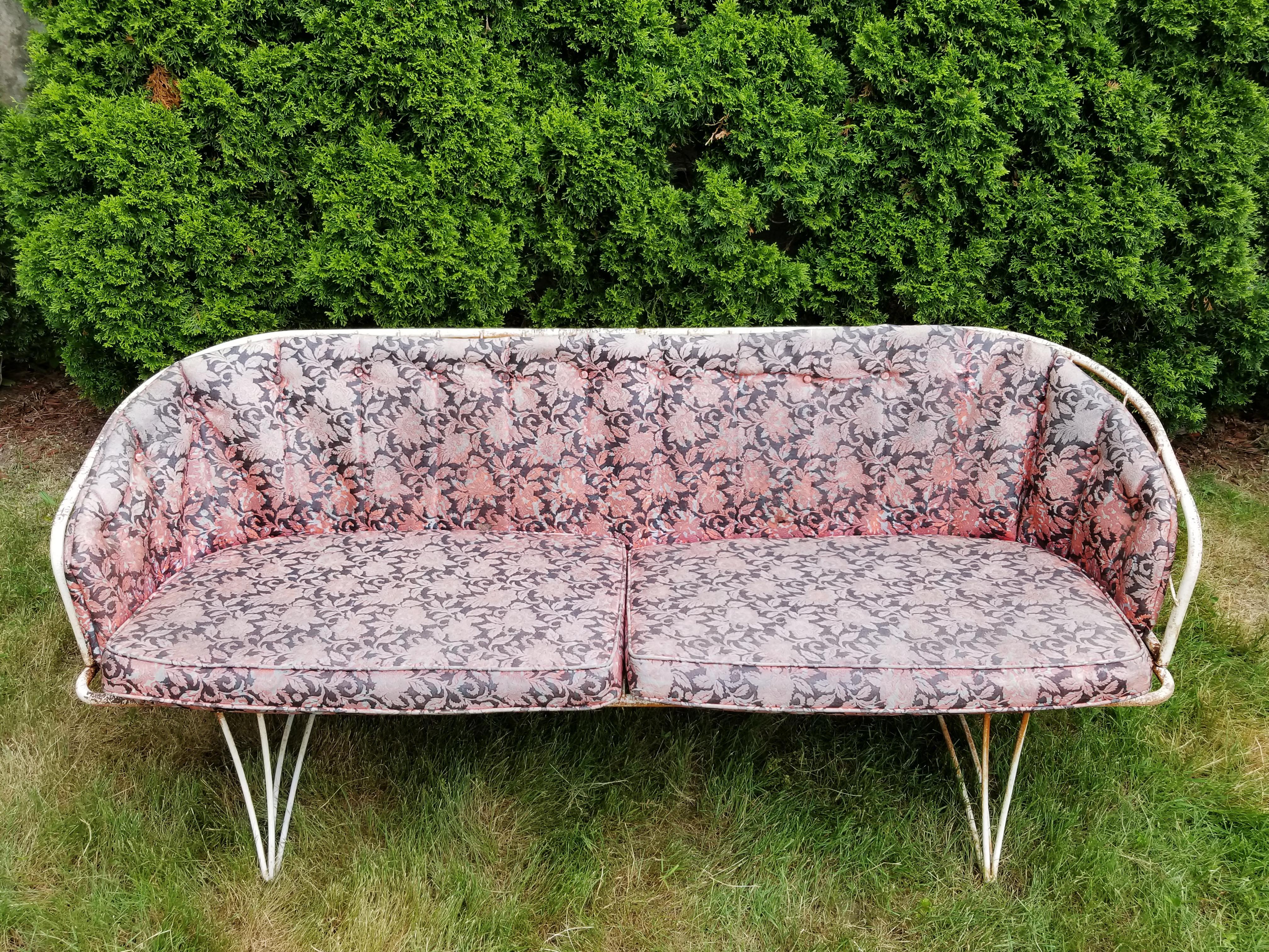 Vintage Homecrest Wrought Iron Patio Couch U0026 Rocker Bouncer Chair 3 Piece  Set   Image 4