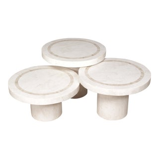 """""""Mushroom"""" White Ivory and Beige Fossil Stone Tables - Set of 3"""