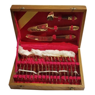 Mid-Century Siam Rosewood and Brass Flatware - Set of 19 For Sale