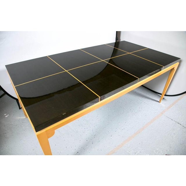Tommi Parzinger Inlaid Mahogany Dining Table - Image 6 of 9