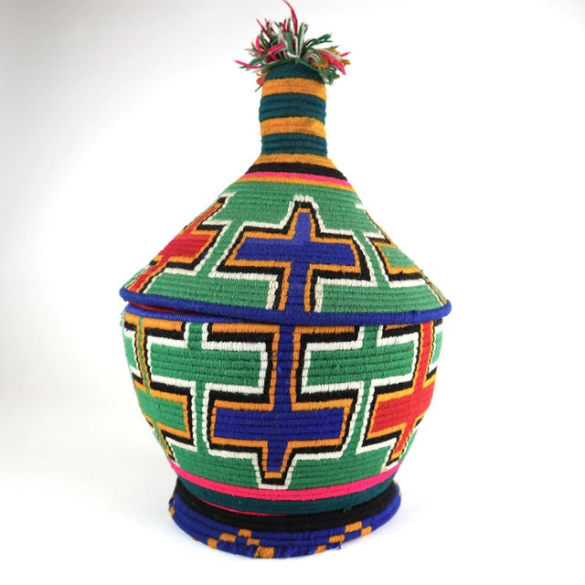 Textile 1990s Moroccan Berber Lidded Basket For Sale - Image 7 of 7