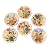 Image of Vintage Italian Dessert Plates With Hand Painted Flowers - Set of 6 For Sale