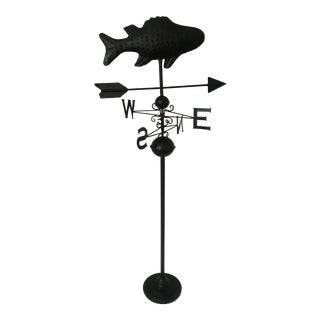 Vintage Wrought Iron Fish Weathervane on Cast Iron Stand For Sale