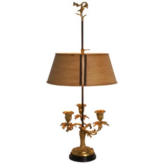 Louis XV Style Bronze Bouillotte Lamp with Tole Shade, France, 19th Century For Sale