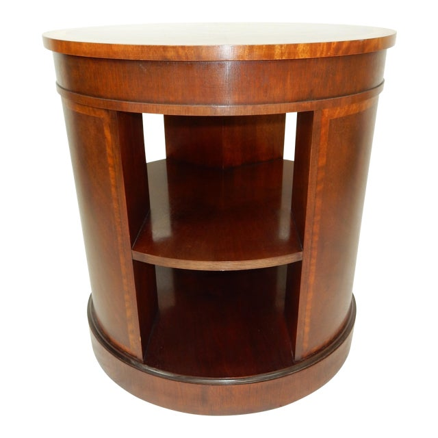 Baker Furniture Inlaid Banded Mahogany Drum Shaped Book Case For Sale