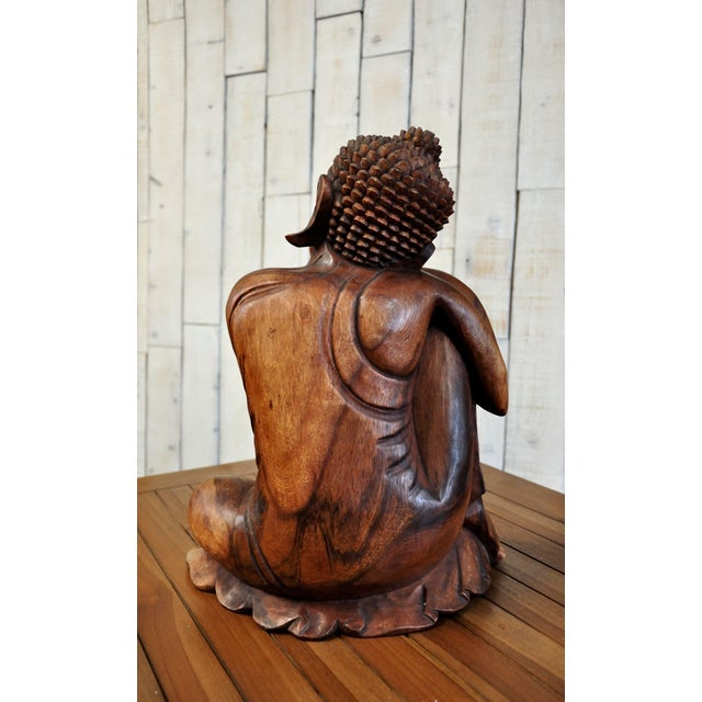 Hand Carved Thinking Buddha Statue Suar Wood Sculpture Bali Art For Sale - Image 8 of 11