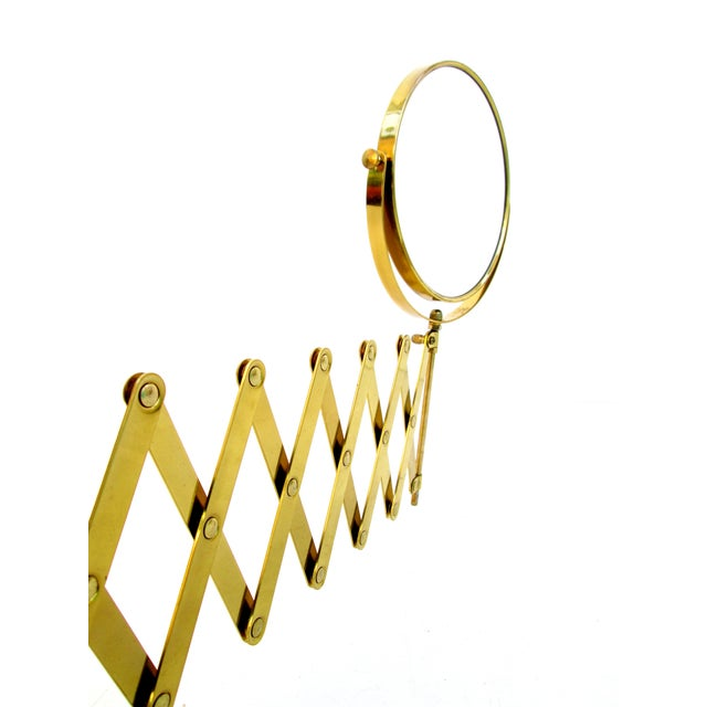 Brass Accordion Wall Mount Mirror For Sale - Image 4 of 8