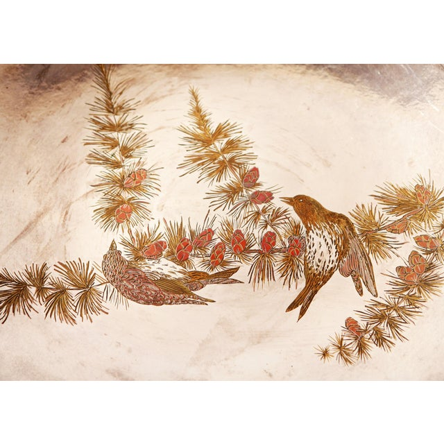 Silver Plated Mixed Metal Brass & Copper Audubon Plates for Tiffany & Co. - a Pair For Sale In Providence - Image 6 of 12