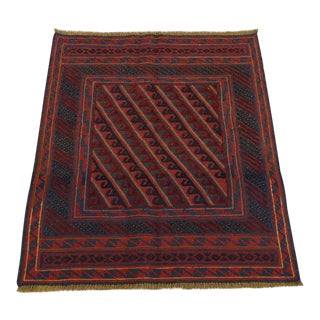 "Vintage Traditional Turkish Kilim Rug - 3'3"" x 3'9"""