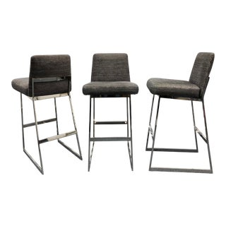 Milo Baughman Bar Stools, Set of 3