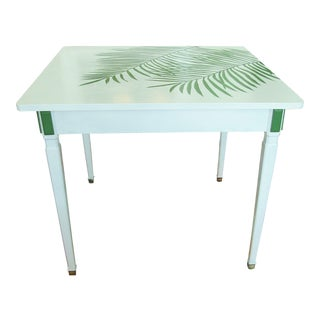 Square Wood Table With Green Palm Frond Design For Sale