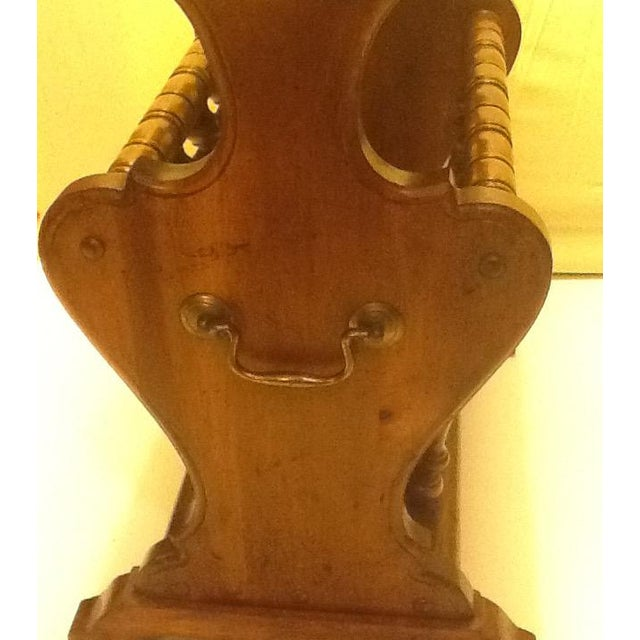 Brass Mid-Century Wood and Brass Magazine Rack/Side Table/Lamp For Sale - Image 7 of 11