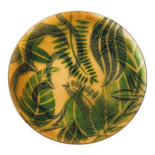 Mid Century Monstera Palm Fern Plant Enameled Plate Plate For Sale
