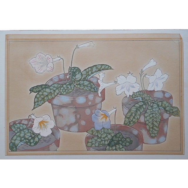 Vintage Japanese Botanical Woodblock Print - Image 1 of 3